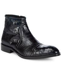 Jo Ghost Almond Toe Leather Ankle Boots - Black