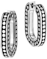 John Hardy Dot Small Sterling Silver Link Hoop Earrings - Metallic