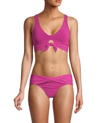 Robin Piccone Knotted Front Bikini Bralette - Purple