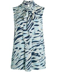 Donna Karan Print Bow-neck Shell - Blue