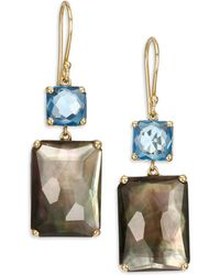 Ippolita - Gelato London Blue Topaz, Black Shell, Clear Quartz & 18k Yellow Gold Rectangle Double-drop Earrings - Lyst