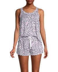 Kensie Women's 2-piece Print Pyjama Set - Floral - Size L - Blue