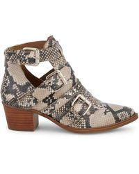 Steven by Steve Madden Dearly Snakeskin-printed Leather Booties - Natural
