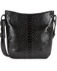 Nancy Gonzalez Phyton Leather Crossbody Bag - Black