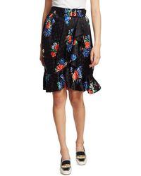 Tory Burch Women's Floral Silk Skirt - Navy Tea Rose - Size 6 - Blue