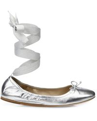 Saks Fifth Avenue Women's Metallic Leather Ankle-wrap Ballet Flats - Silver - Size 6
