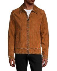 Valentino Men's Embellished Suede Jacket - Brown - Size 48 (38)