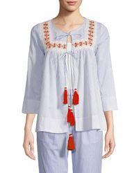 Hemant & Nandita Women's Striped Cotton Top - Blue Stripe - Size Xs
