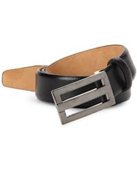 Saks Fifth Avenue Plaque Leather Belt - Black