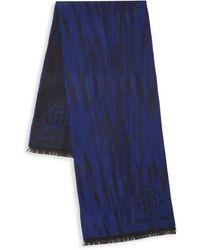 Roberto Cavalli black blue purple scarf NEW mens womens ladies wool blend winter