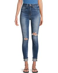 Flying Monkey High-rise Distressed Cropped Jeans - Blue