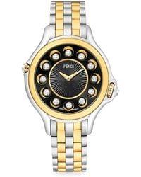 Fendi Crazy Carats Black Spinel, White Topaz, Diamond & Two-tone Stainless Steel Bracelet Watch - Metallic