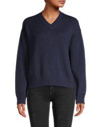 Loro Piana Women's Santorini V-neck Sweater - Sapphire - Size 40 (6) - Blue