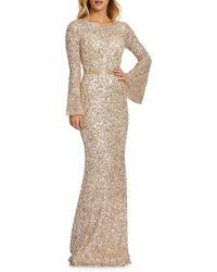 Mac Duggal Women's Bell-sleeve Sequin Column Gown - Navy Multi - Size 10 - Multicolor