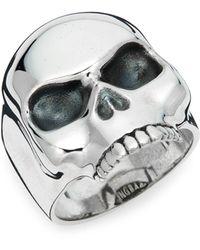 King Baby Studio Sterling Silver Skull Ring - Metallic