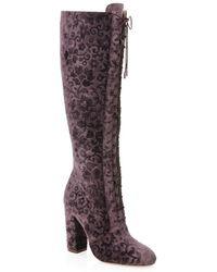 Alice + Olivia Vesey Embossed Velvet Boots - Purple