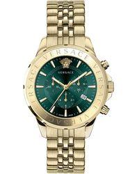 Versace Chrono Signature Ip Gold Stainless Steel Bracelet Watch - Metallic