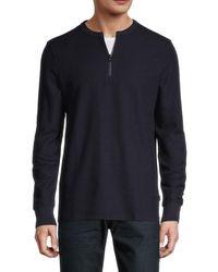 BOSS by HUGO BOSS Textor Quarter-zip Cotton Pullover - Blue