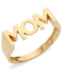 Saks Fifth Avenue 14k Yellow Gold Mom Ring/size 7 - Size 7 - Metallic