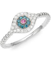 Effy Ruby, White & Blue Diamond 14k White Gold Evil Eye Ring