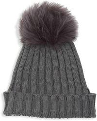 469e02ee28ac4 Adrienne Landau - Dyed Fox Fur Pom Pom Ribbed Beanie - Lyst