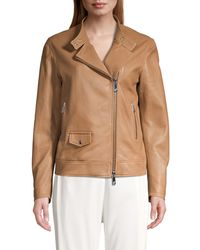 Peserico Women's Asymmetric Leather Bomber - Cafe - Size 46 (10) - Brown