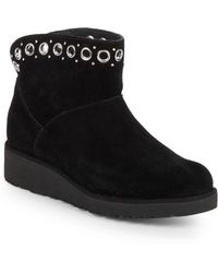 UGG - Grommet Trim Suede & Shearling Ankle Booties - Lyst