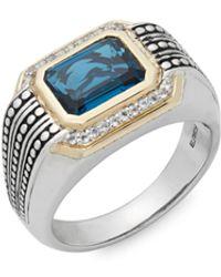 Effy Light Blue Topaz, White Topaz, 925 Sterling Silver And 14k Yellow Gold Ring - Metallic