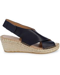 Andre Assous Florence Leather Slingback Espadrille Wedge Sandals - Black