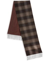 Saks Fifth Avenue Collection Plaid Wool & Cashmere Scarf - Brown