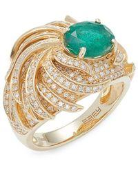 Effy Brasilica 14k Yellow Gold, Diamond & Emerald Ring - Green