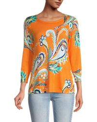 Joseph A Three-quarter Sleeve Printed Jumper - Orange