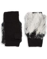 Adrienne Landau Plush Fur Fingerless Gloves - Black