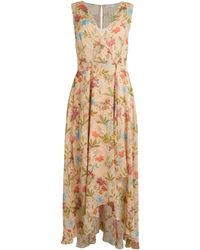 Calvin Klein Floral Chiffon High-low Wrap Dress - Metallic