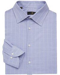 Ike Behar Men's Regular-fit Graph Check Dress Shirt - Navy - Size 17 - Blue