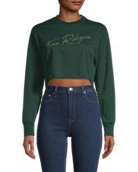 True Religion Women's Long-sleeve Logo Crop Top - Scarab - Size S - Green