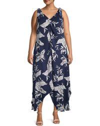 Estelle Women's Plus Leaf-print Asymmetrical Dress - Navy Print - Size 1x (14-16) - Blue