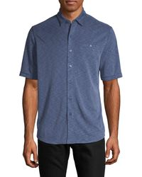 Saks Fifth Avenue Short-sleeve Button-down Shirt - Blue