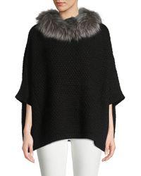 Adrienne Landau - Knit Natural Fox Fur Collar Pullover - Lyst