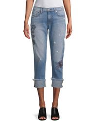 ei8ht dreams - Embroidered Folded-cuff Jeans - Lyst