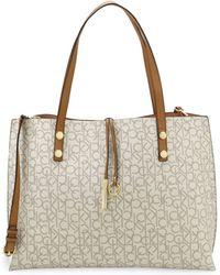 Calvin Klein - Faux Leather Logo Tote Bag - Lyst