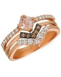 Le Vian Women's 14k Strawberry Gold®, Peach Morganitetm, Nude Diamondstm & Chocolate Diamonds® Ring/size 7 - Size 7 - Brown