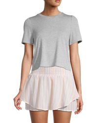 BCBGeneration Heathered Cropped T-shirt - Grey