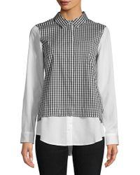 Calvin Klein Pointed Gingham Button-down Shirt - Black
