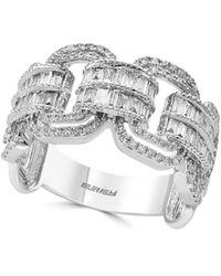 Effy Women's Super Buy 14k White Gold And Baguette Diamond Link Ring - Size 7 - Multicolor