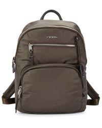 Tumi Hilden Nylon & Leather Backpack - Mink Silver - Metallic