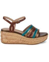 Geox Women's Primula Leather Platform Wedge Sandals - Brown Multicolour - Size 38 (8)