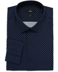 BOSS by Hugo Boss Jenno Slim-fit Patterned Dress Shirt - Blue