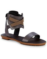 3d367b6ce4e Lyst - Brunello Cucinelli Embellished Leather Flat Sandals in Gray