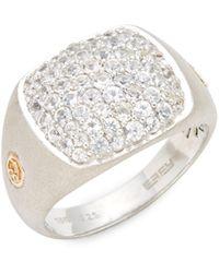 Effy Sterling Silver, 18k Gold & White Sapphire Ring - Metallic